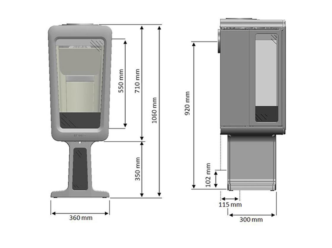 K 800 gris sur socle dessus pierre ollaire (compatible BBC)