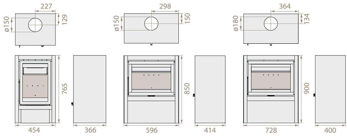 poele a bois dimension. Black Bedroom Furniture Sets. Home Design Ideas